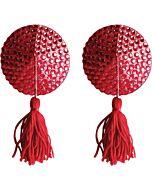 Cobre mamilos círculo strass vermelho