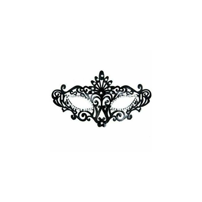 máscara veneziana e acabamento em preto brilhante